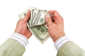 money (dollars) in hands