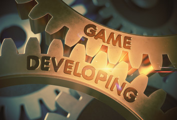Golden Gears with Game Developing Concept. 3D Illustration.