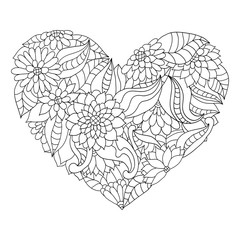 Hand drawn flower heart for adult anti stress colouring book.