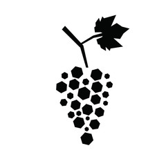 Black silhouette of hexagon grapes