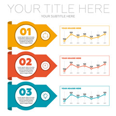 Infographics elements. 3 steps and line charts