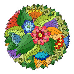 Colorful circle floral ornament with wildflowers and leaves in gypsy style.