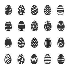 Wall Mural - Paschal egg icons. Vector easter eggs with flowers, lines and curls patterns