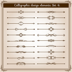 Retro simple scroll page dividers. Vector vintage separating elements
