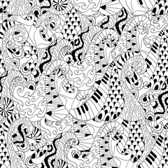 Seamless pattern with waves for adult anti stress colouring page. Pattern for coloring book.