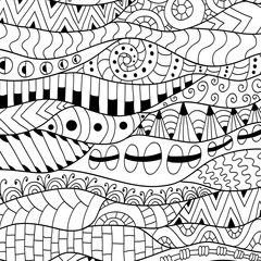 Black and white contour background. Ornamental ethnic pattern.