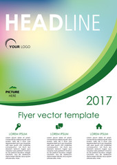 Vector flyer, corporate business, annual report, brochure design and cover presentation with green curve