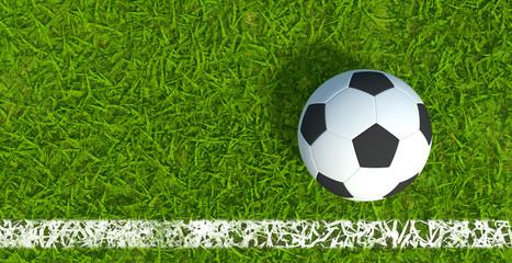 3D rendering, Football soccer on grass soccer field background.