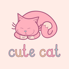 Vector illustration of cute sleeping cat on pink background.
