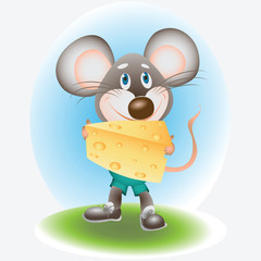Joyful Mouse and cheese Children's picture. The hero cartoons. Design for a card, textiles, children's books, menus, recipes, and product packages.