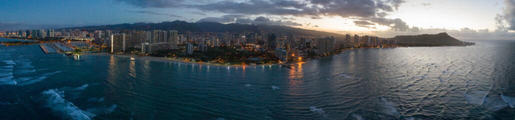 Aerial Panorama of Hawaii Oahu
