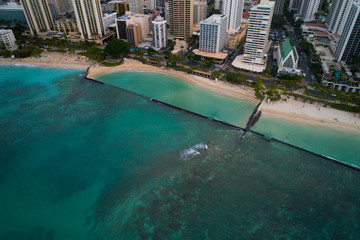 Aerial photo Waikiki Beach and Diamond Head
