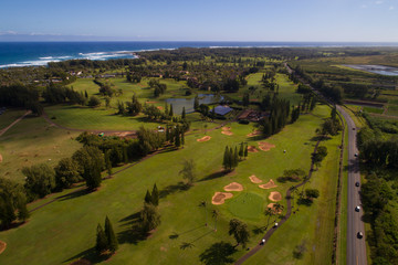 Aerial photo Turtle Bay golf club Oahu Hawaii