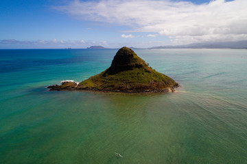 Aerial photo Hawaii Oahu scenic off shore geological formations