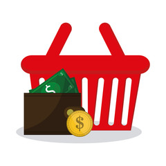 shopping basket with related icons of e-commerce concept over white background. colorful design. vector illustration