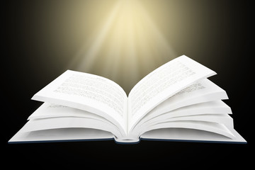 3D rendering of open book with bright light
