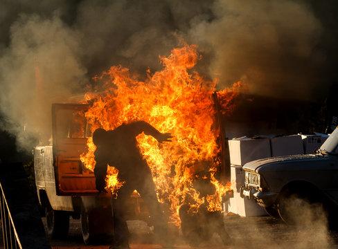 car explosion on a show