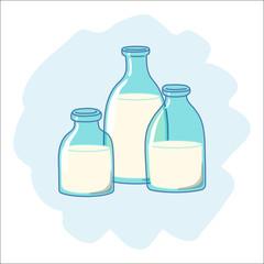 Three glass bottles of milk, drawn in cartoon style. Vector illustration.