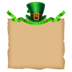 St.Patrick's Day template. Old paper and leprechaun hat with green ribbon. Vector illustration.