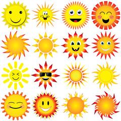 sun vector illustration set on white background