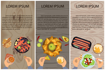 Set of Persons are eating, top view. Menu for breakfast, lunch or dinner. Vector illustration eps 10