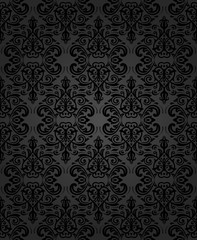 Damask dark classic pattern. Seamless abstract background with repeating elements