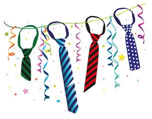 Karneval, Weiberfastnacht. Girlande mit Krawatten, Luftschlangen und Konfetti.