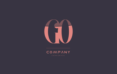 go g o pink vintage retro letter company logo icon design