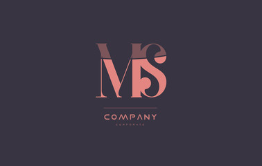 ms m s pink vintage retro letter company logo icon design