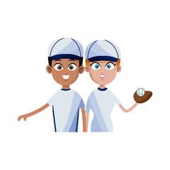 man and woman baseball players icon image vector illustration design