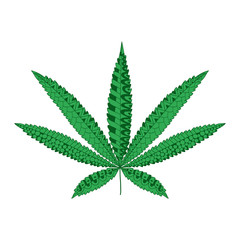 Hemp Cannabis Leaf in zentangle style. Marijuana ornamental silhouette.