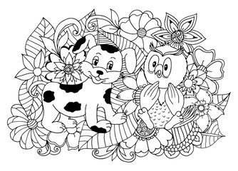 Vector art illustration owl with the puppy sits among flowers. Work done by hand. Book Coloring anti-stress for adults and children. Black and white.