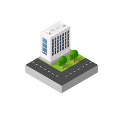 Isometric urban icon of the city infrastructure town, street modern, real structure, architecture 3d elements different buildings