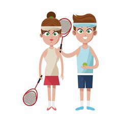 man and woman tennis players sports icon image vector illustration design