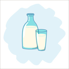 Bottle and glass with milk, drawn in cartoon style. Vector illustration.