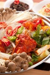 mushroom dakbokkeumtang.   Braised Spicy Chicken.