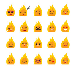 Emoticons bonfire vector set. Emoji cute Fire with face. Cute emoji colorfull illustration. Bonfire, flat cartoon style