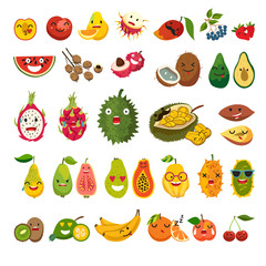 Emoji of exotic fruits vector set. Cute funny stickers, juicy and ripe fruit. Emoji flat cartoon fruit. Litchi, jackfruit, rambutan and dragon fruit. Isolated illustration on white background