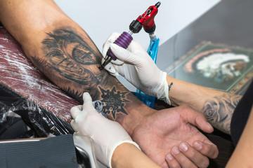 Details of a tattoo artist work