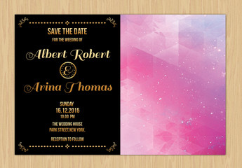 Gold Text Save the Date Card Layout