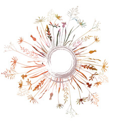 Vector circle background with wild meadow flowers, herbs and grasses in watercolor style.