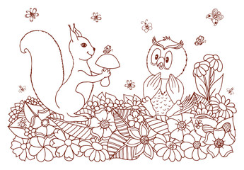 Vector art illustration a squirrel among the flowers gives the mushroom owl. Work done by hand. Book Coloring anti-stress for adults and children.Brown and white.
