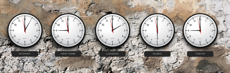 Business Concept - Time Zone Clocks