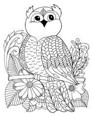 Vector illustration an owl surrounded by flowers sitting on a branch. Work done by hand. Book Coloring anti-stress for adults and children. Black and white.