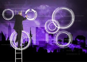 Businessman on a Ladder writing against a purple background
