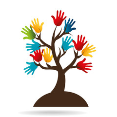 hand human silhouette colors community icon vector illustration design