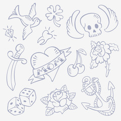 Set of Hand Drawn Old-School Style Retro Tattoo Sketches - Swallow, Diamond, Skull with Wings, Lucky Clover, Heart, Dagger, Tooth, Rose Flower, Dice, Cherry, Anchor.  Isolated on background