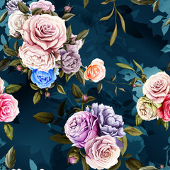 Roses and peony with leaves. Watercolor, hand drawn. Seamless background pattern. Vector - stock.