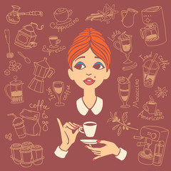 Vintage style portrait of red haired young woman holding coffee cup in one hand and saucer in another hand, surrounded by coffee doodles. Vector illustration