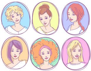 Set of hand drawn sketchy portraits, avatars, icons . Young girls with different hairstyles.